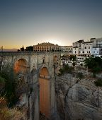 The New Bridge in the village of Ronda in Andalusia, Spain at evening