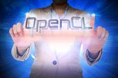 Businesswoman presenting the word opencl against background with shiny ball