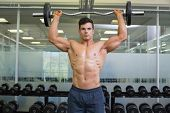 Portrait of a shirtless muscular man lifting barbell in gym