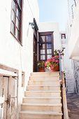 Traditional Greek Alley On Naxos Island, Greece