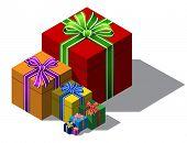 color christmas gift boxes