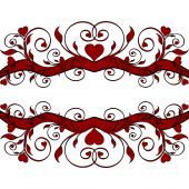 image of valentine heart  - Vector illustration of a red floral ornament with hearts - JPG