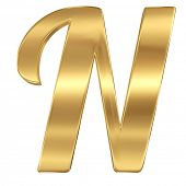 Golden shining metallic 3D symbol letter N - isolated on white