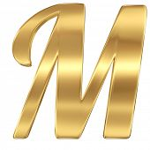 Golden shining metallic 3D symbol letter M - isolated on white