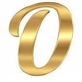 Golden shining metallic 3D symbol letter O - isolated on white
