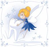 stock photo of teeth  - Vector cartoon of Tooth Fairy carrying a big tooth - JPG