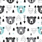Seamless blue black white geometric pastel grizzly bear illustration and arrow background pattern in vector