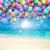 Balloons and pennants on a summer beach background