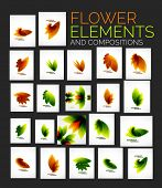Vector abstract flower elements set, various nature concepts