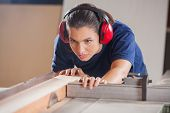 Concentrated young female carpenter cutting wood with tablesaw in workshop