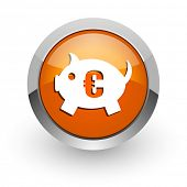 piggy bank orange glossy web icon