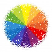 Bright halftone color wheel made from dots
