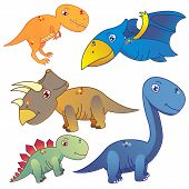 Five Dinosaurs On White Background