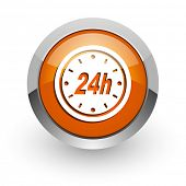 24h orange glossy web icon