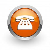 phone orange glossy web icon