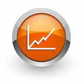 chart orange glossy web icon