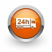 delivery orange glossy web icon