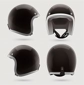 Black motorbike classic helmet. Front, back and side view.