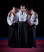 Three aikido fighters on black