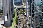 Traffic in hong kong city finance district