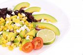 Beans salad on a plate.