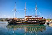 HAKIDIKI, GREECE-MAY 25, 2014: Pirate ship for tourists in Ormos Panagias, Greece on May 25, 2014. T