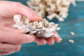pic of pearl-oyster  - Hand with tweezers holding pearl and oyster on wooden background - JPG