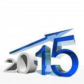 Conceptual 3D blue 2015 year symbol with an arrow isolated on white background