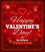 Valentines Day sparkling background with typography. Vector eps 10.
