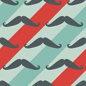 Mustache seamless pattern - vector texture