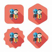 Space Alien Friendship Flat Icon With Long Shadow,eps10