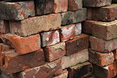Pile of old reclaimed bricks.