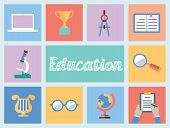 Concept Of Education. Flat Style Design