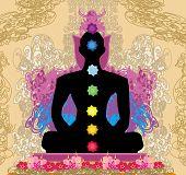 Yoga Lotus Pose. Padmasana With Chakra Points.