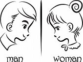 woman and man face