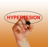 image of hypertensive  - writing word hypertension with marker on gradient background made in 2d software - JPG