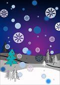 Winter scene with snowflakes