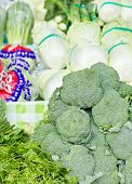 Assorted Vegetables In Market Such As Broccoli, Ivy Gourd And Chinese Cabbage.