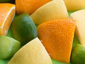 Citrus Fruit Shows Orange Green And Tropical
