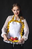 Homemaker With Apples In Apron