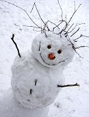 stock photo of snowy hill  -  Christmas snowman sitting in a snowy outdoors               - JPG