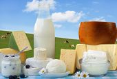 picture of milk products  - dairy products in glass containers and Cheese - JPG