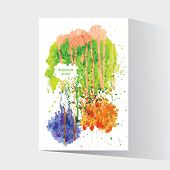 Watercolor Splash Blot With Drops And Splatter