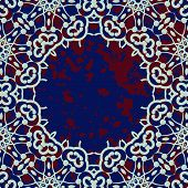 Stylized islamic ornamental frame over deep blue background
