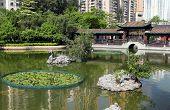 image of hong kong bridge  - wooden bridge and Chinese garden in zen style - JPG