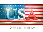 3D text United State American on national flag for Presidents Day celebration on white background.
