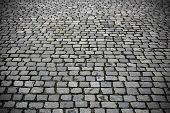 picture of paving stone  - Paving stones street close up gray background - JPG