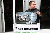politician Nikolay Lyaskin on picket in support of the arrested ecologist Suren Gazaryan