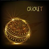 Cricket sports concept with shiny golden ball on brown background.