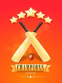 picture of cricket ball  - Shiny bats with red ball and stars for Cricket Champions League on red and orange background - JPG